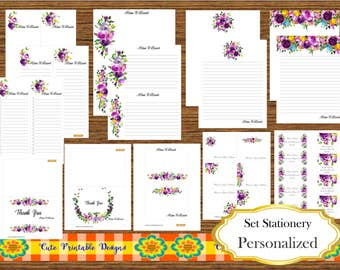 Watercolor Stationery Set Custom, Personalized, printable Stationery Set, Note Card Set, Note Pad stationery, Set Gift, WHITE-SETNOT-198