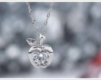 Sparkle Silver Apple Necklace