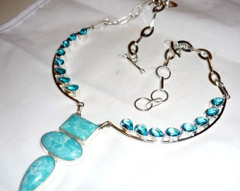 LARIMAR + TOPAZ BLUE mounted punched 925 sterling silver necklace