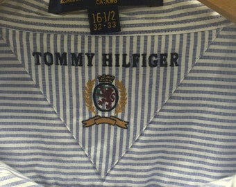 Blue and white stripped vintage tommy hilfiger button down 16 1/2