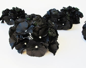 "10 Black Hydrangea Heads Artificial Silk Flowers Hydrangeas Measuring 6.1 "" Flower Faux Fake"