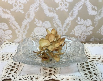 Vintage Cut Glass Dish/Flower Design/Pressed Glass/Small/Nut Dish