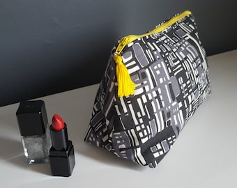 Make up bag / Grey, black & white wedge-shaped cosmetics bag / pencil case / gifts for her