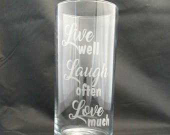 Live well, Laugh often, Love much Glass Etched Vase / Mother's Day Gift / Gift for Her / Gift for Mom / Grandmother