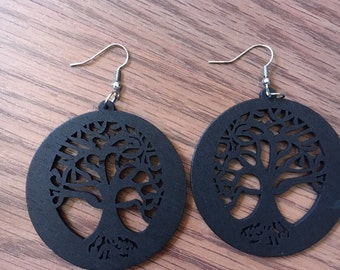 Tree of Life Earrings - Wooden Tree of Life - Wood Tree Earrings - Brown Wooden Earrings - Brown Wood Earrings - Brown Tree Earrings Circle
