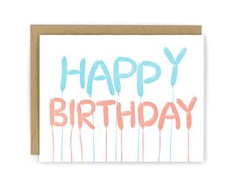 Birthday Balloons Letterpress Card