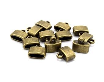 Embouts cordon argent- Apprêt - caps coupelles bronze / mixte - 12mm  par lot de 10/15/20/25/30 unités. E01A/E01B