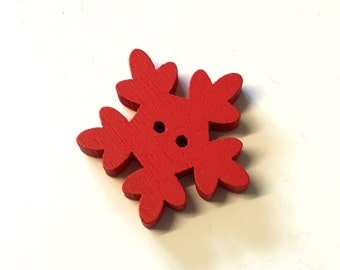 10, large snowflake buttons,  christmas buttons, red buttons, red christmas buttons, wooden snowflake, christmas crafts, cardmaking supplies