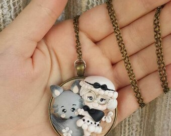Cameo necklace grandmother and Wolf fimo/polymer clay necklace red hat