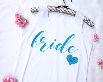 Blue Gliter Bride Tank Top . Bridal Shirt. Bridal Tank Top. Bachelorette Shirt. Bachelorette Tank. Wedding Tank. Bride Shirt. Bride tank top