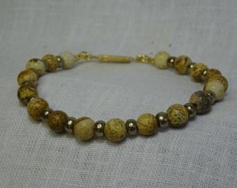 "Picture Jasper with Pewter glass beads 7.375"" Bracelet (PJ6B01-17)"