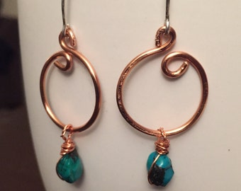 Turquoise Copper Circle Earrings