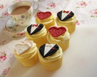 Bride & Groom Heart Shaped Bridal Party Edible Fondant Cupcake Toppers (Custom Colours)