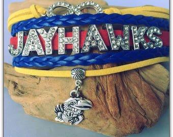 KU Jayhawks Kansas University BLING Layer Bracelet