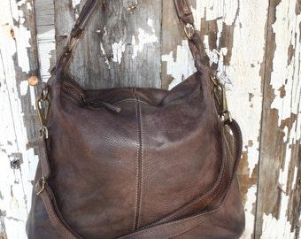 Leather Hobo Bag Hobo Purse Soft Leather bag by BaccariHandbags