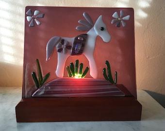 Fused glass Desert Horse bedside nightlight.
