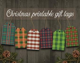 Sale: 30% off printable Christmas gift tags, Plaid Christmas gift tags, Christmas labels, Instant download