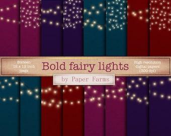 Fairy light backgrounds, light strings, fairy lights, kraft paper, fairy light digital paper, scrapbook paper, pink, teal, red, DOWNLOAD