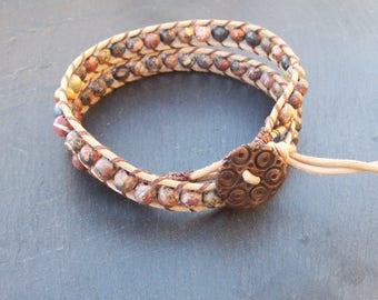Man's gemstone wrap - Leather bracelet - Leather wrap bracelet - Gemstone Mens bracelet - Jasper gemstone bracelet - Jasper wrap bracelet