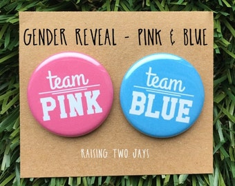 Gender Reveal Buttons - Gender Reveal Baby Shower, Team Pink or Blue, Team Purple or Green, Baby Shower Pins, Party Favors, Boy or Girl