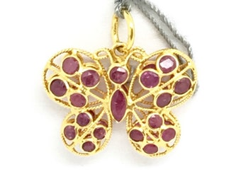 14K Yellow Gold Ruby Butterfly Pendant