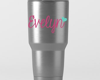 Name with Heart Decal - Preppy Decal - Water Bottle Decal - Hipster Name Monogram - Yeti - RTIC - Tumbler Decal - Laptop Decal - Car Decal