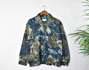 Vintage Silk Floral Zip Up Jacket