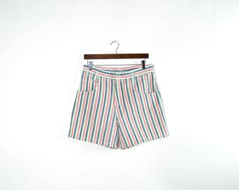 Vintage High Waisted Pastel Striped Denim Shorts