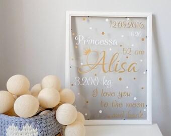 30x40cm Personalized Art Print Baby Nursery Kids Room GOLD/WHITE Girls Framed White Frame Poster Letters Name Stats. Custom Birth Print