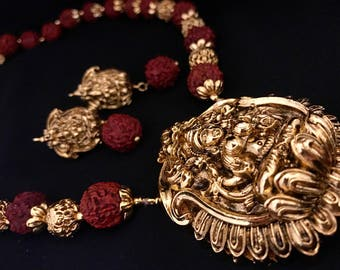 Gold Plated Laxmi Rudraksha Necklace