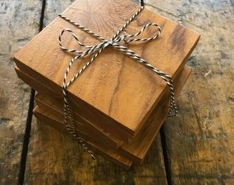 Teak Coasters // Set of 6 // Wood