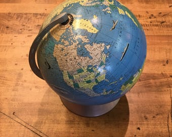 World Globe  // 8 inch // Rand McNally // Metal // 1950's