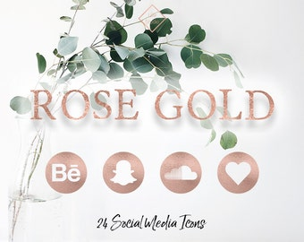 Rose Gold Foil Social Media Network Icons Blog Blogger Follow Website Web Modern Minimal Buttons Web Design Rosegold Digital Design Icon