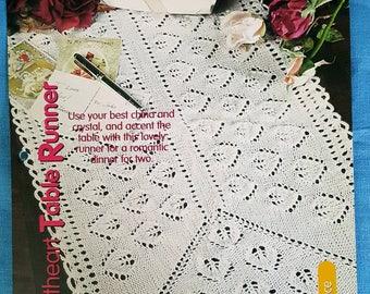 2001 House of White Birches Sweetheart Table Runner Original Knitting Pattern Leaflet NOT a PDF