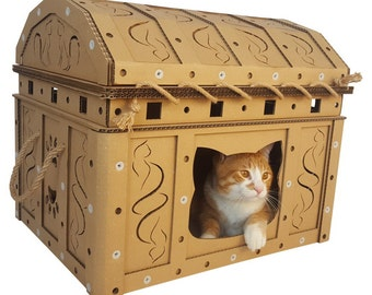 Dead Man's Chest Cardboard Cat House,Unique Cat Furniture, Cat Toy, Cat Bed, Cat Cave, Pet House, Cardboard Furniture,Cat Condo,Cat Gift