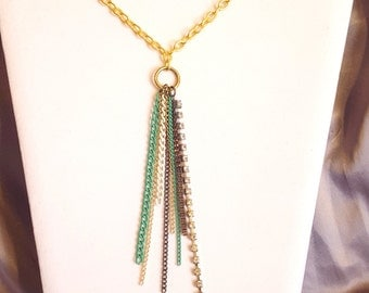 Multi-strand chain tassel necklace with gold chain