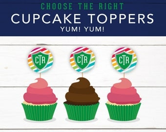 Choose the Right Theme Cupcake Toppers, Party, Coordinating Pieces, Christian Art, CTR Shield, Printables