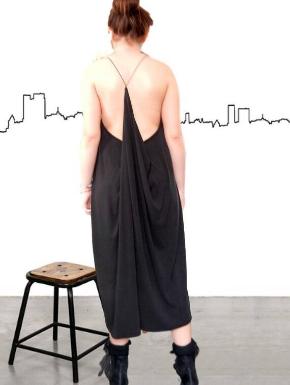 Loose Dress, Party Dress, Black Oversized Dress, Maxi Black Dress, Lace Neck Dress, Clubwear, Party Dress, Open back Dress