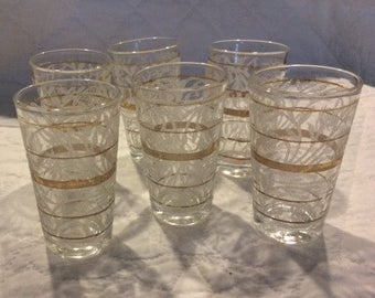 Vintage Frosted Glass Juice Glasses with Gold Bands and Floral Motif, Set of 6
