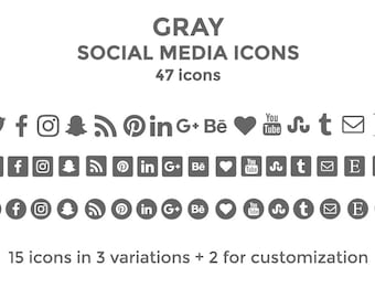 Gray Social Media Icons Website Icons Blog Icons Social Media Icons Buttons Social Media Graphics Twitter