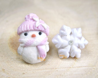 Snowman Earrings and pink puppet idea Christmas gift Fimo pin