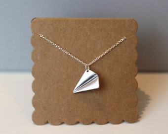 Silver Paper Airplane Necklace // dainty sterling silver necklace // with gift packaging