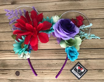 Ariel, The Little Mermaid Inspired Wire Mickey Ears with Floral Crown | Minnie Ears | Mickey Ears | Free Shipping