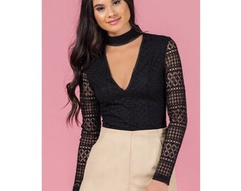 Geometric Lace Crop