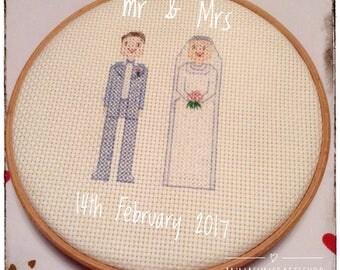 Personalised Bride & Groom Wedding Cross Stitch Gift - Handmade - Bride - Groom - Wedding Present - Anniversary - UK Free Postage