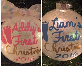 Baby's First Christmas, Name Ornament, Customized Ornament, Christmas Decor, Footprints, Baby's Ornament, Christmas Tree Decor