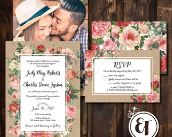 Wedding Invitation -Vintage Flowers