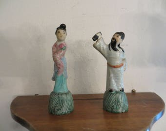 Pair of Asian figurines vintage w/ free ship