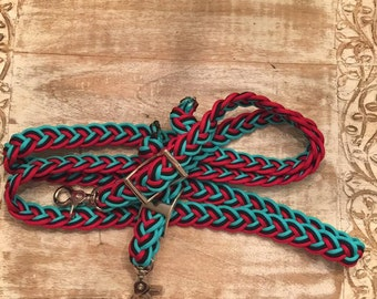 Teal, red, and black reins