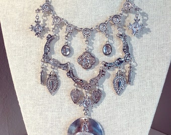 Boho Chic Antiqued Silver and Crystal Stone Crescent Layered Statement Necklace